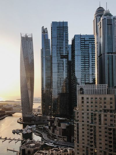 Dubai skyscraper buildings at the sunset