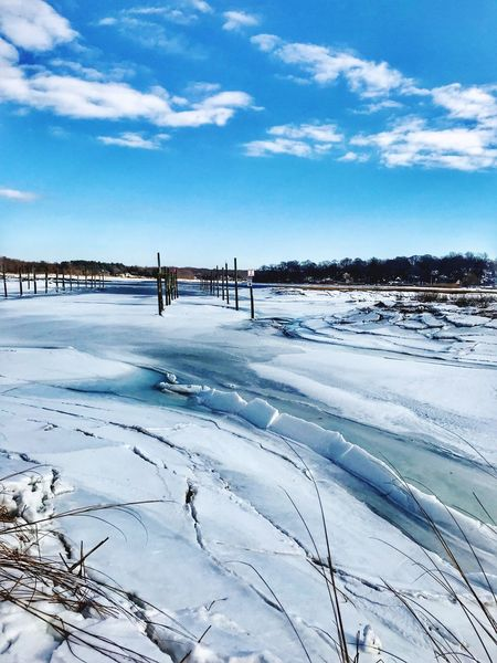 IcyNissequogueRiver Nissequogue River Winter Cold Temperature Snow Frozen Nature Sky Ice
