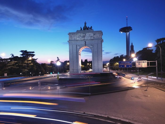 Puerta de Moncloa Night City Statue Triumphal Arch Car Politics And Government Monument Illuminated Sky No People Outdoors Sculpture Tree Architecture Madrid Spain