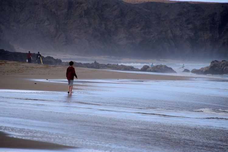 Rear view of boy walking at beach against mountains