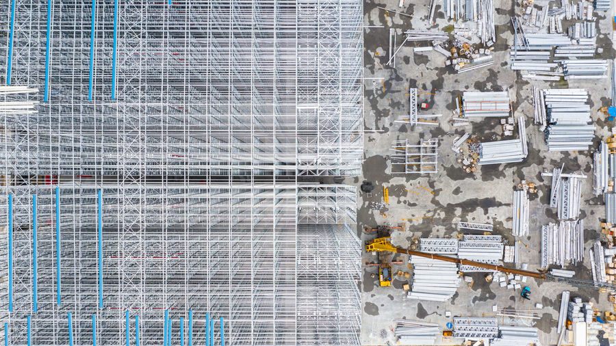 Aerial view of building at construction site in city