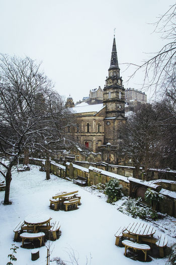 Snow in Edinburgh Bench Castle Christmas Church Edinburgh Castle St Cuthberts Stockbridge Weather Winter Benches Cold Parish Curc Snow Snow,