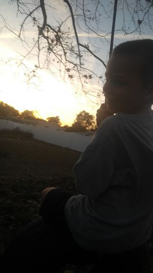 Sunset Child One Person Silhouette Children Only Childhood People
