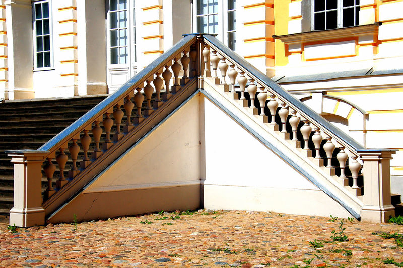 Rundale Palace Latvia Latvia Rundalē Palace Rundale Palace Latvia Architecture Autumn Baltic States Balustrade Building Building Exterior Built Structure Day Direction Door House No People Outdoors Railing Staircase Steps And Staircases Sunlight Symmetry Wall - Building Feature Window