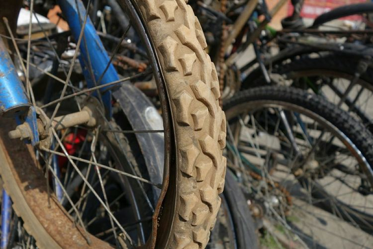 Close-Up Of Bicycle Wheels