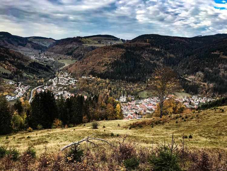 Black Forest village surrounded by mountains and fir trees Valley Village Blackforest Germany Mountain Plant Sky Cloud - Sky Beauty In Nature Scenics - Nature Nature Tree Landscape Environment Outdoors