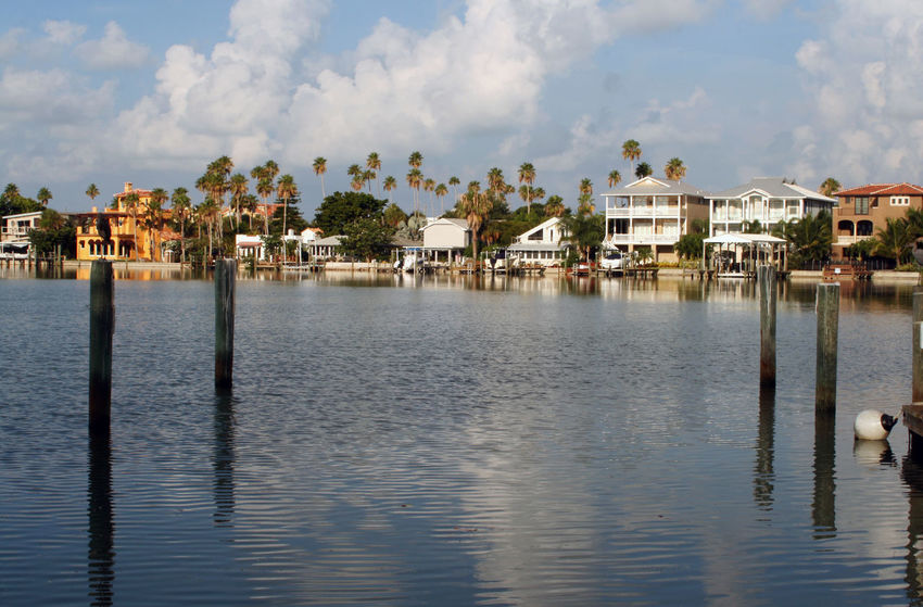 Architecture Built Structure Day Homes On The Water Nature Pass A Grille Saint Petersburg Florida Scenics Sky Tampa Bay Tranquil Scene Water Waterfront