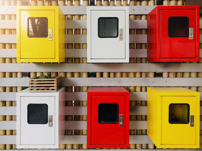 Full frame shot of multi colored lockers