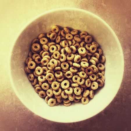 Bowl of breakfast cereal hoops Food And Drink Food No People Indoors  Sweet Food Bowl Healthy Eating Ready-to-eat Freshness Close-up Day