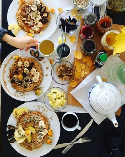 Food And Drink Breakfast High Angle View Plate Lifestyles Ready-to-eat Pancakes Autumn Foodporn Brunch Around The World Breakfast Time Friends Morning Vegan Healthy Eating Drink Table Food Photography Hand With A Coffee Vegeterian Indulgence Looseweight
