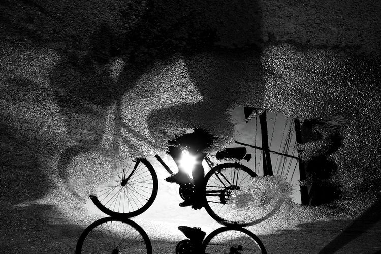 High angle view of illuminated bicycle on street