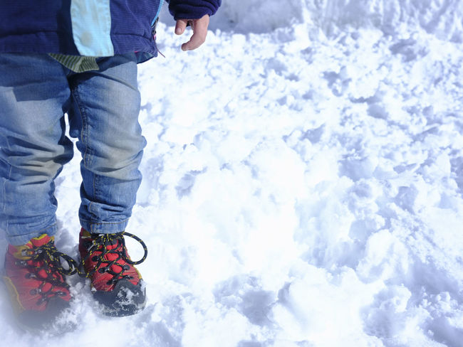 Fun Winter Wintertime Child Childhood Feet Jumping Jumping Child Playing Shoes Snow
