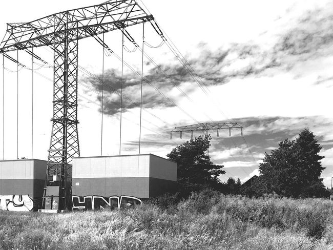 End of the line Berlin Blackandwhite Schwarzweiß IPhoneography Powerlines Industrial Landscapes Monochrome Photography