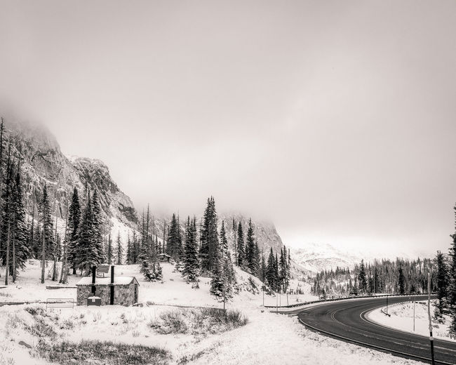 Lake Marie Peak shrouded in mist/snowstorm. Beauty In Nature Beauty In Nature Cold Temperature Day For Lake Landscape Marie Mountain National Nature Nature No People Outdoors Road Sky Snow Tree Tree We Weather WeatherPro: Your Perfect Weather Shot Winter Winter Trees Wintertime