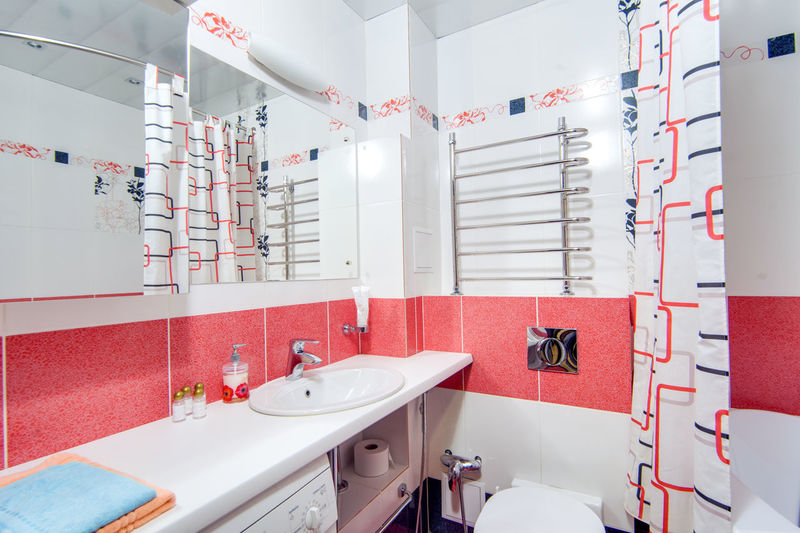 Bathroom Sink Indoors  No People White Color Household Equipment Wall - Building Feature Hygiene Mirror Domestic Room Red Architecture Tile Absence Arrangement In A Row Large Group Of Objects Faucet Seat Order