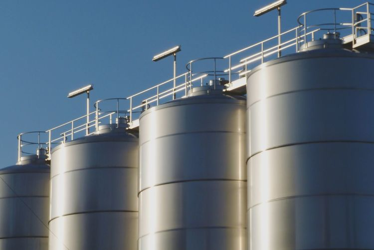 Factory Storage Tank Silo Silver Colored Sky Industry Clear Sky Blue Close-up Day