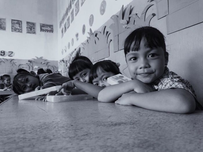 Childhood Education Indoors  Girls Classroom Learning Looking At Camera Portrait Elementary Age Happiness Child Smiling Student Sitting Day Togetherness INDONESIA EyeEmNewHere