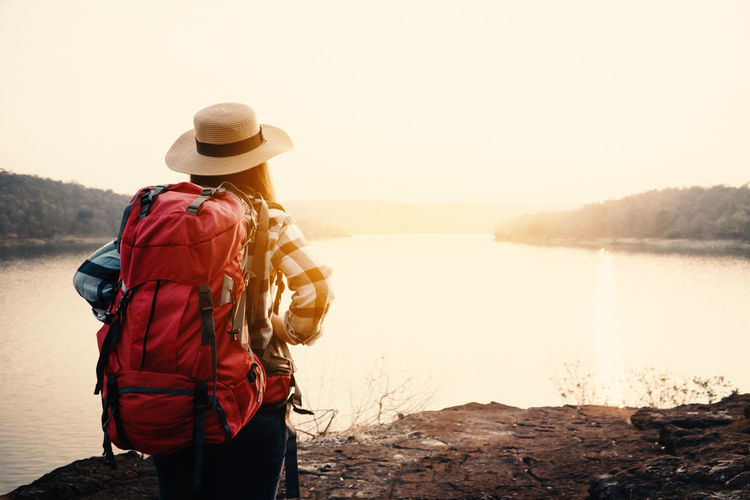 Travel Vacation Holiday Relaxing Rest Destination Nature Backpack Bag Journey Tourism Lifestyles Scenics - Nature Beauty In Nature Lake Mountain Standing Outdoors Looking At View Adventure