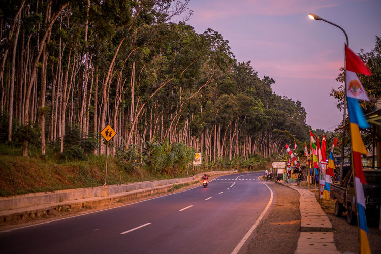 Transportation Tree Road Plant Street Sign Nature City Sky Incidental People Mode Of Transportation Lighting Equipment Illuminated Street Light Direction Motor Vehicle The Way Forward Land Vehicle Road Sign Outdoors Dividing Line Golden Hour Countryside Country Road Colorful