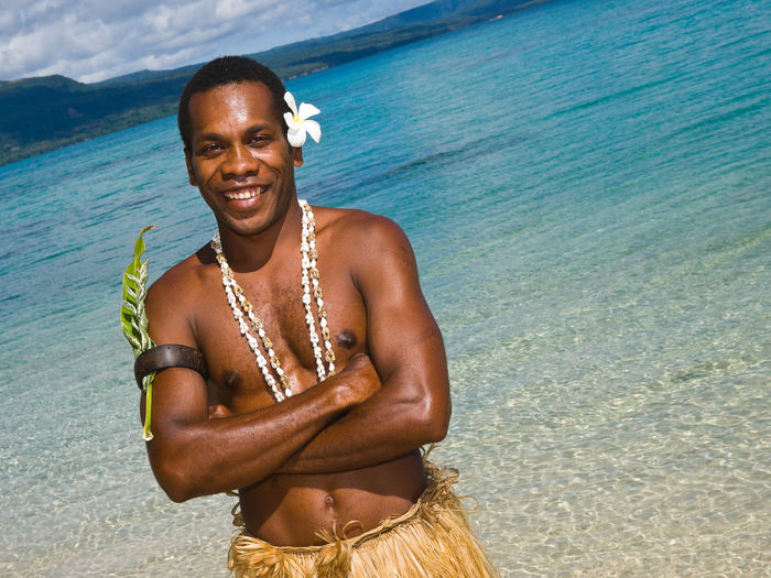 Local Guide Pele Island Vanuatu Big Smile Blue Water Blue Sky Cherry Blossoms Cultural Heritage Culture Grass Skirt Island Life Islands Melanesia Melanesian Pacific Ocean Paradise Beach Pele Island Travel Destinations Vanuatu Vivid International