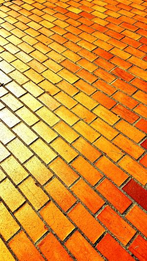 Small Town Living Pattern Yellow Morning Walk Bricks Orange Outdoors Textured  Weaverville California Fall Season Background Sunshine Main Street Paint The Town Yellow