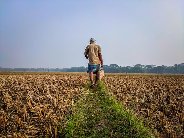 A farmer walks away on a field road with a bag of food on a winter's morning.