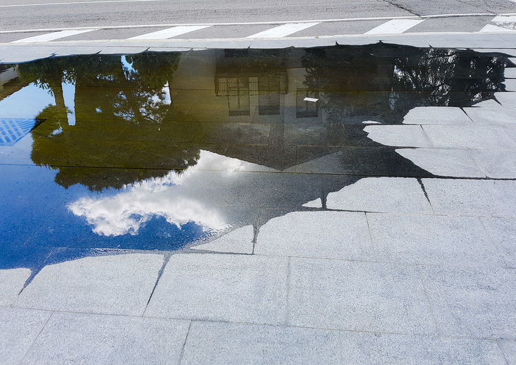 Day Outdoors Puddle Water Full Frame No People Architecture Nature After Rain Cloud Pavements Cloud - Sky Tree City The Way Forward Sky Road Community Italy Perspective Colors