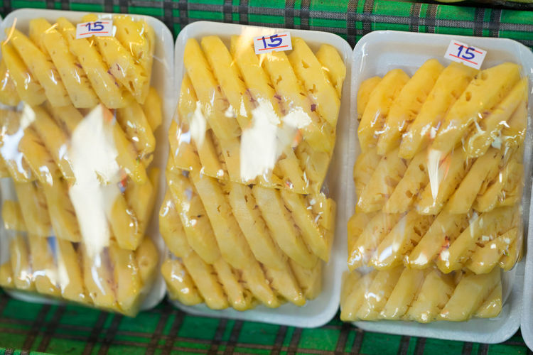 Pineapple Plastic Wrap Ready Close-up Corn Day Food Food And Drink Freshness Healthy Eating Indoors  No People Peeled Ready-to-eat Yellow