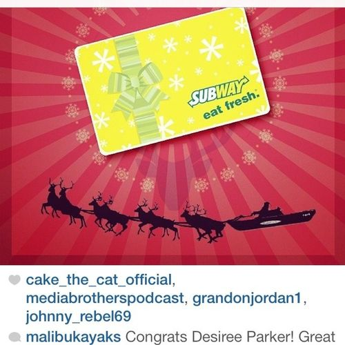 @malibukayaks - Yay - Thank you Ineverwinanything Exciting Christmascontest Giftcard subway eatfresh reindeer namethem