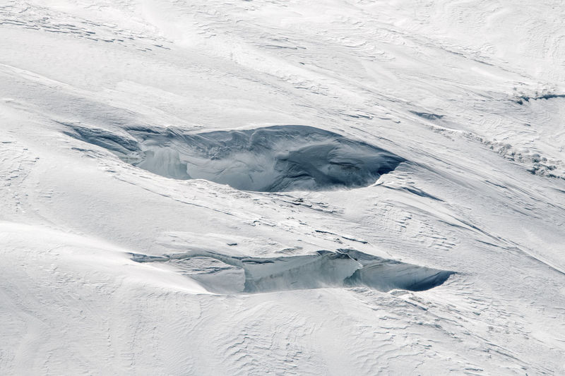 Winter Cold Temperature Snow White Color Covering Glacier Frozen Ice Outdoors High Angle View = Two Crevasse Crevasses Pattern Texture