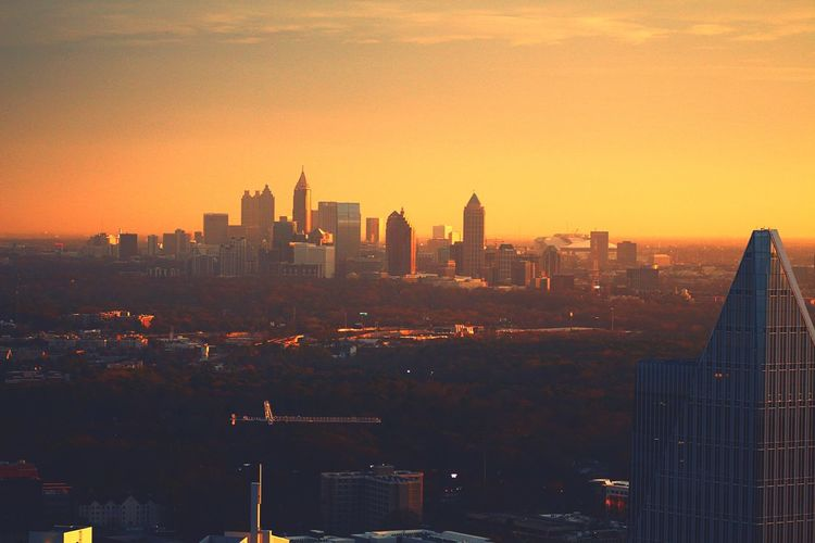 Atlanta afar City Cityscape Building Exterior Architecture Skyscraper Sunset Built Structure Urban Skyline Modern No People Sky Outdoors Travel Destinations Downtown District Skyline Day ATL EyeEmNewHere Atlanta Ga Landscape Helicopter View  Atlanta, Georgia Beauty In Nature Scenics Aerialview