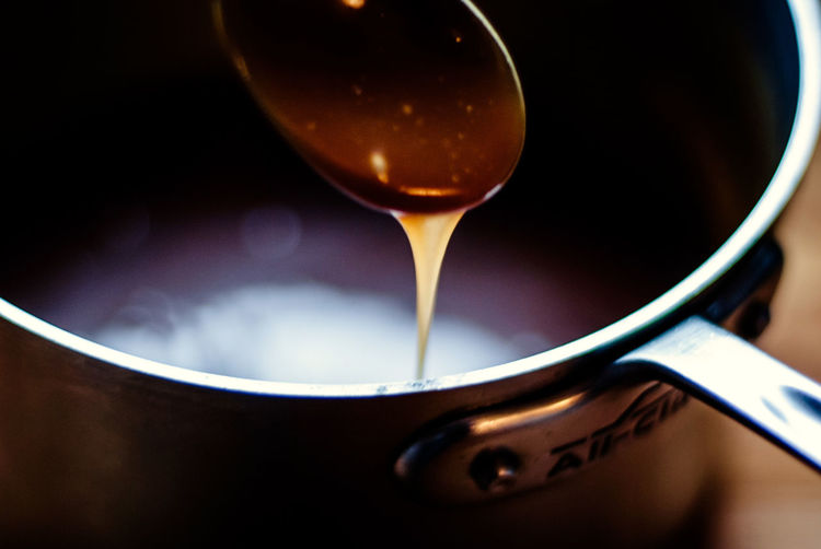 Close-up of syrup on spoon