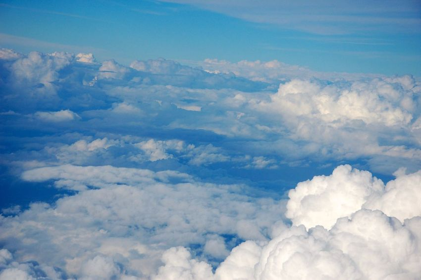 Flying High über den Wolken Sky Cloud - Sky Nature Beauty In Nature Tranquility Scenics Cloudscape White Color Fluffy Softness Day No People Outdoors Heaven Backgrounds Idyllic Aerial View Sky Only Tranquil Scene