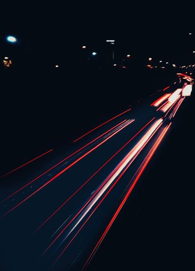 Light Trail Night Speed Long Exposure Traffic Illuminated Motion Road City Life City Rush Hour No People Outdoors Red