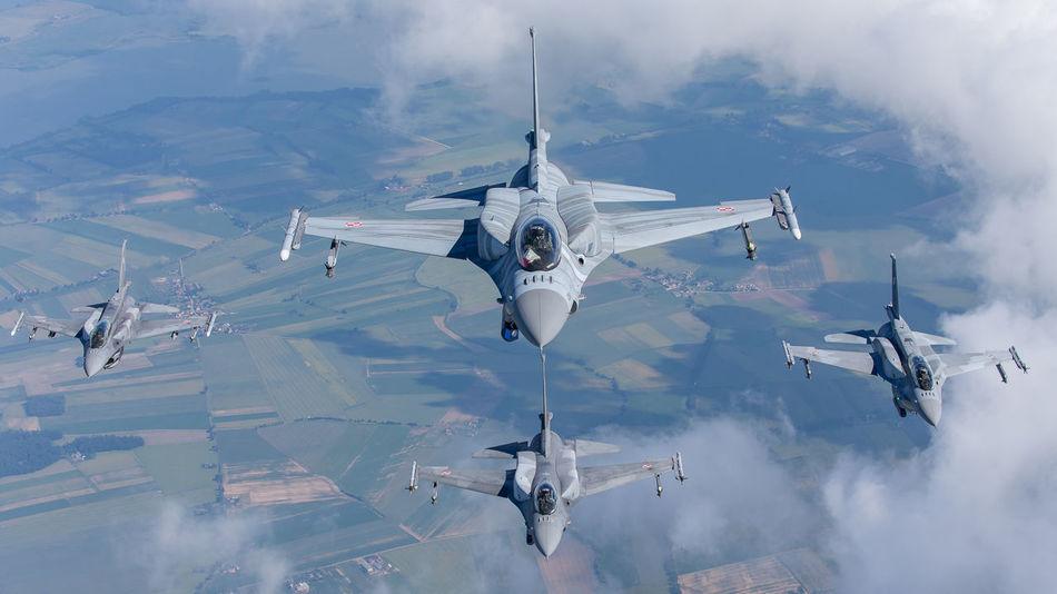 Aircraft Airforce Airspace Avgeek Aviation Clouds F16 Fighter Flying Formation High Lockheed Martin Military Missile NATO Photography Photoshoot Plane Poland Protecting Sky Transportation Viper