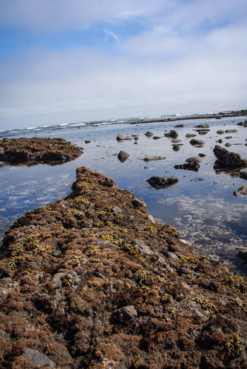 Rocks on beach against sky, etretat