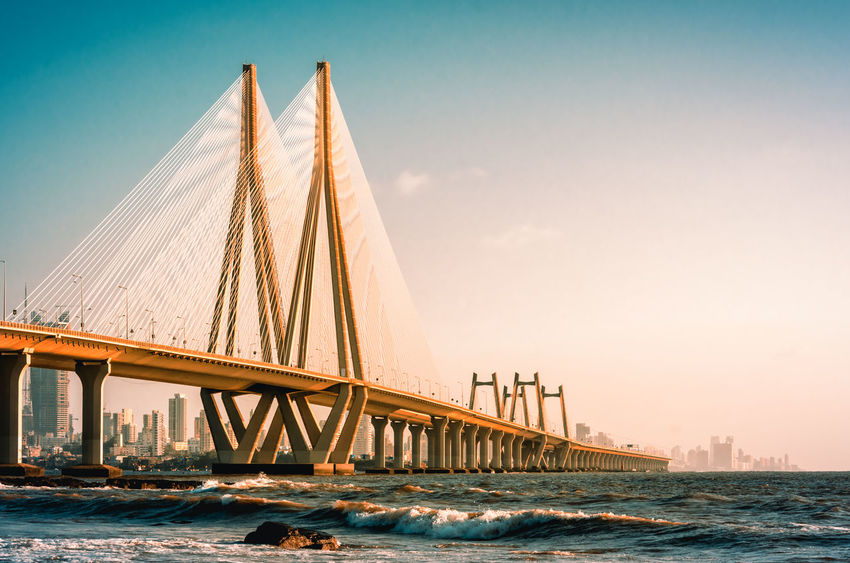 Bandra Worli Sea Link, Mumbai in the evening Architecture Beautiful City India Mumbai Skyline Transportation Architecture Bandra Worli Sea Link Bay Bridge Bridge - Man Made Structure Built Structure City Connection Engineering Landmark Outdoors Sea Skyscraper Sunset Transportation Travel Travel Destinations Water