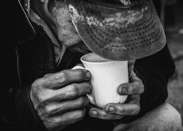B&w Black&white Close-up Coffee Drinking Hat Human Body Part Human Hand Monochrome Mug Old Oldman One Person People Real People Wrinkled