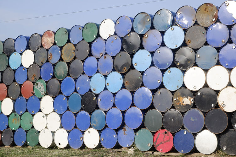 Stack of containers outdoors