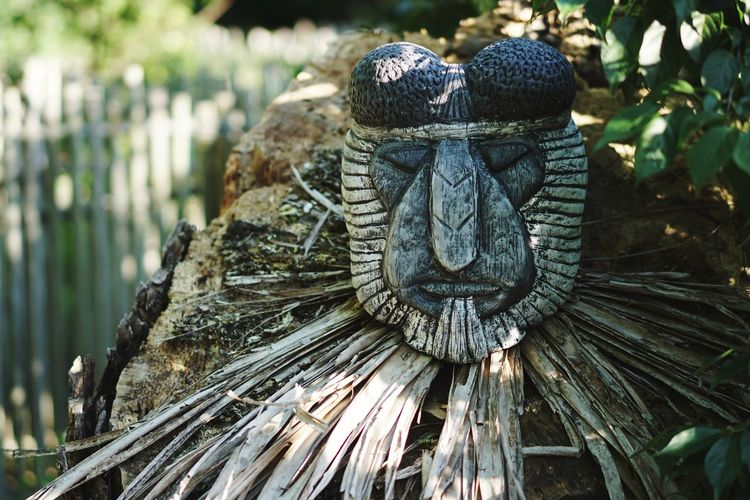 Outdoors Tribal Statue Mask Native