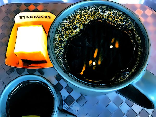 Black coffee Painting Style Creative Pictures Painting Style IPhoneography Starbucks ❤ Starbucks Coffee Coffee Time Coffee - Drink No People Close-up Indoors  Shape Mode Of Transportation Geometric Shape Reflection