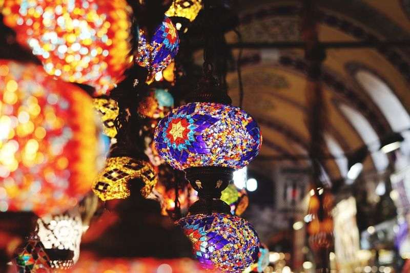 Decoration Lighting Equipment Illuminated No People Hanging Multi Colored Indoors  Focus On Foreground For Sale Art And Craft Close-up Night Design Retail  Selective Focus Electric Lamp Pattern Electricity  Retail Display