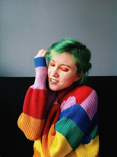 One Person Sweater Young Adult Clothing Young Women Indoors  Winter Lifestyles Warm Clothing Women Portrait Real People Leisure Activity Front View Waist Up Adult Scarf Headshot Hairstyle Beautiful Woman Turtleneck Bright Bright Colors Greenhair Greenhairdontcare Makeup Creative Photography