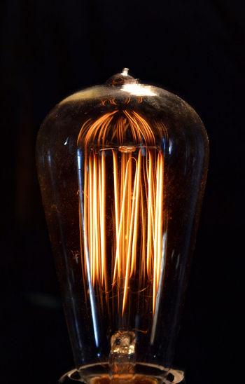 Antique Creativity EdisonLight Filament Glowing Ideas Illuminated Light Bulb Old-fashioned Thomas Edison Fine Art Photography