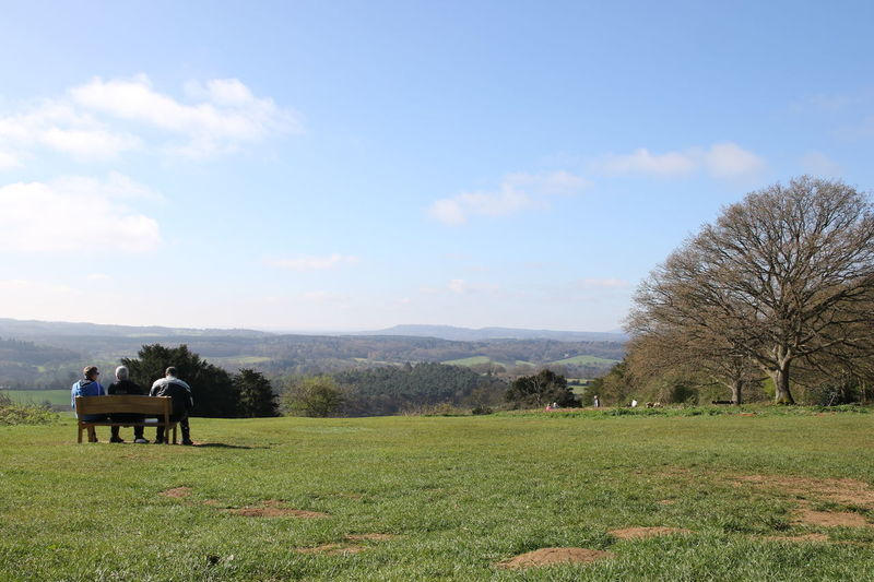 Adult Beauty In Nature Bench Day Field Grass Landscape Males  Men Nature Newlands Corner North Downs Outdoors People Real People Rear View Rural Scene Scenics Sitting Sky Surrey Countryside Togetherness