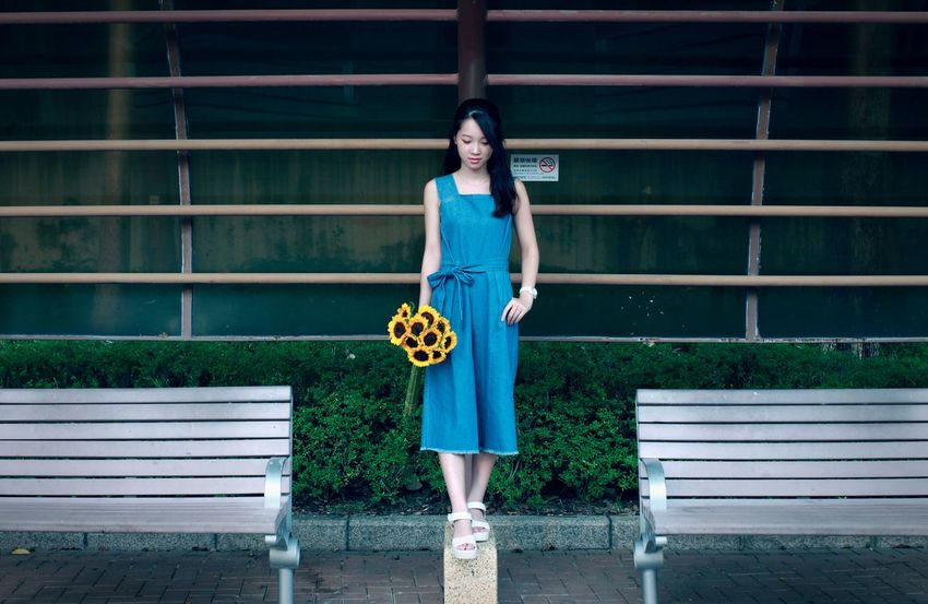 Full Length Casual Clothing Person Lifestyles Leisure Activity Young Adult Young Women Smiling Standing Architecture Blue Railing Day Long Hair Corrugated Iron Outdoors Focus On Foreground 2016 EyeEm Awards EyeEm Best Shots People And Places HongKong Photography SunnyChan