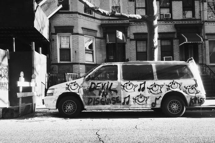 Punk Mode Of Transport Transportation Land Vehicle Text Day Van Graffiti Brooklyn New York