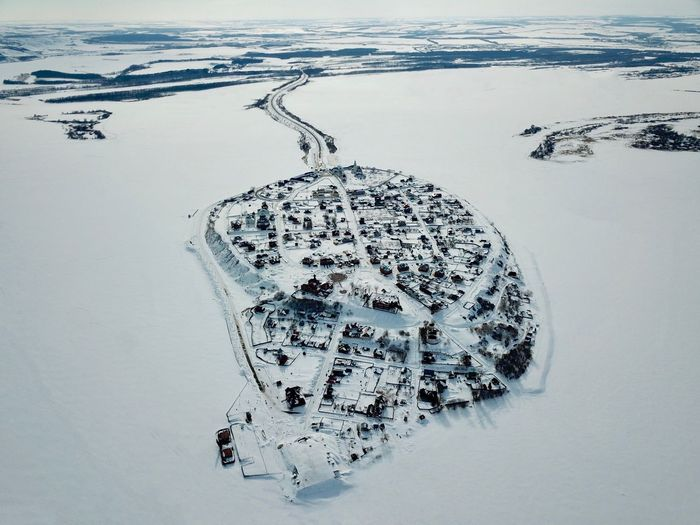 High angle view of ice on land