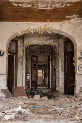 Devastated mental asylum interior EyeEmbestshots Ruins Lowangle Architecture Hospital Romania Inside Ruined Ruins Ruin Devastation Old Precarious Dust Dirt Mess Indoors  Built Structure Indoors  No People Day