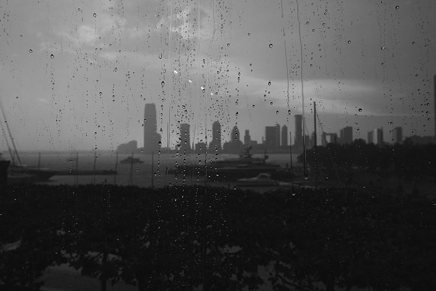 After the Storm Marina Stormy Weather Rainy Days Black And White Looking Through Window Droplets New York City Fujifilm_xseries Photographyisthemuse Skyscraper Building Exterior Architecture City Sky Wet Weather Cityscape Urban Skyline Modern No People Day